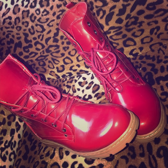 Chinese Laundry Shoes - Red moto boots